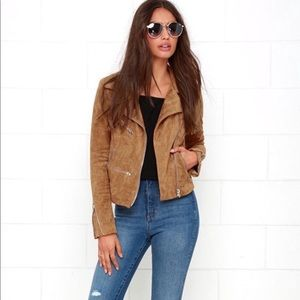 Lulus Suede With Love Crop Moto Jacket Size Large